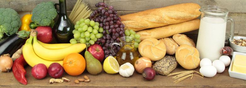 Gesund essen – Obst, Gemüse, Milchprodukte, Getreideprodukte, Eier