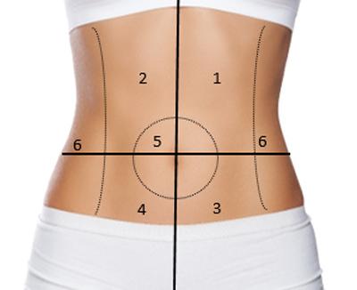 Schematische Darstellung der 4 Quadranten des Bauchraums, die der Arzt bei Bauchschmerzen zur Diagnose nutzt